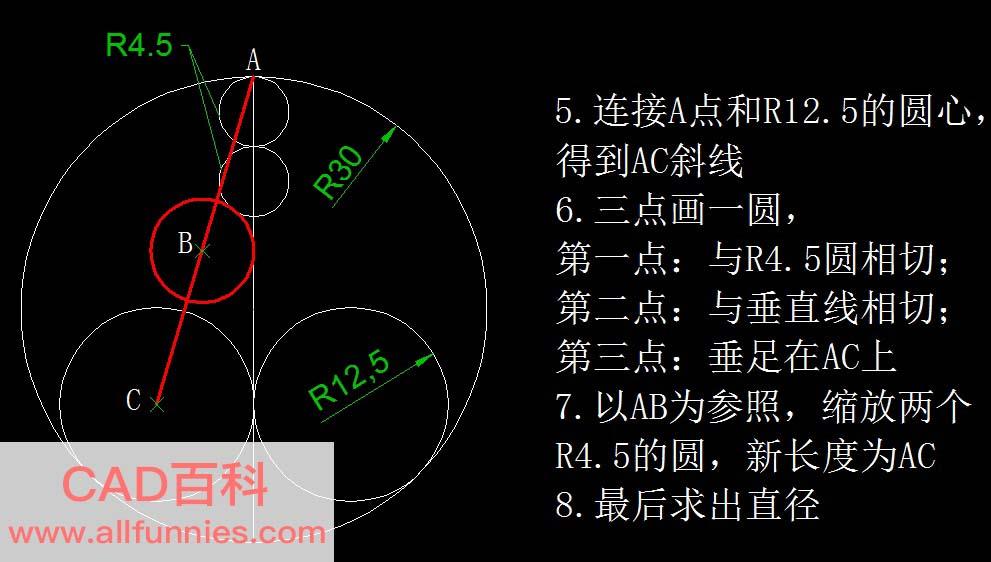 根据已知条件画圆并求出直径