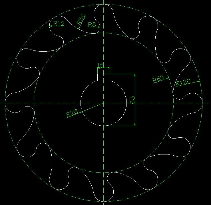 画齿轮并求出指定部分面积