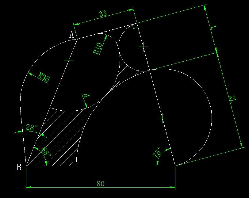 [CAD练习图]画图并求出面积和距离