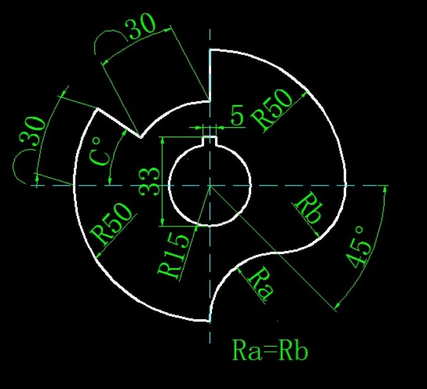 [CAD练习题]画图并求出角度和半径(CAD角度和半径练习)