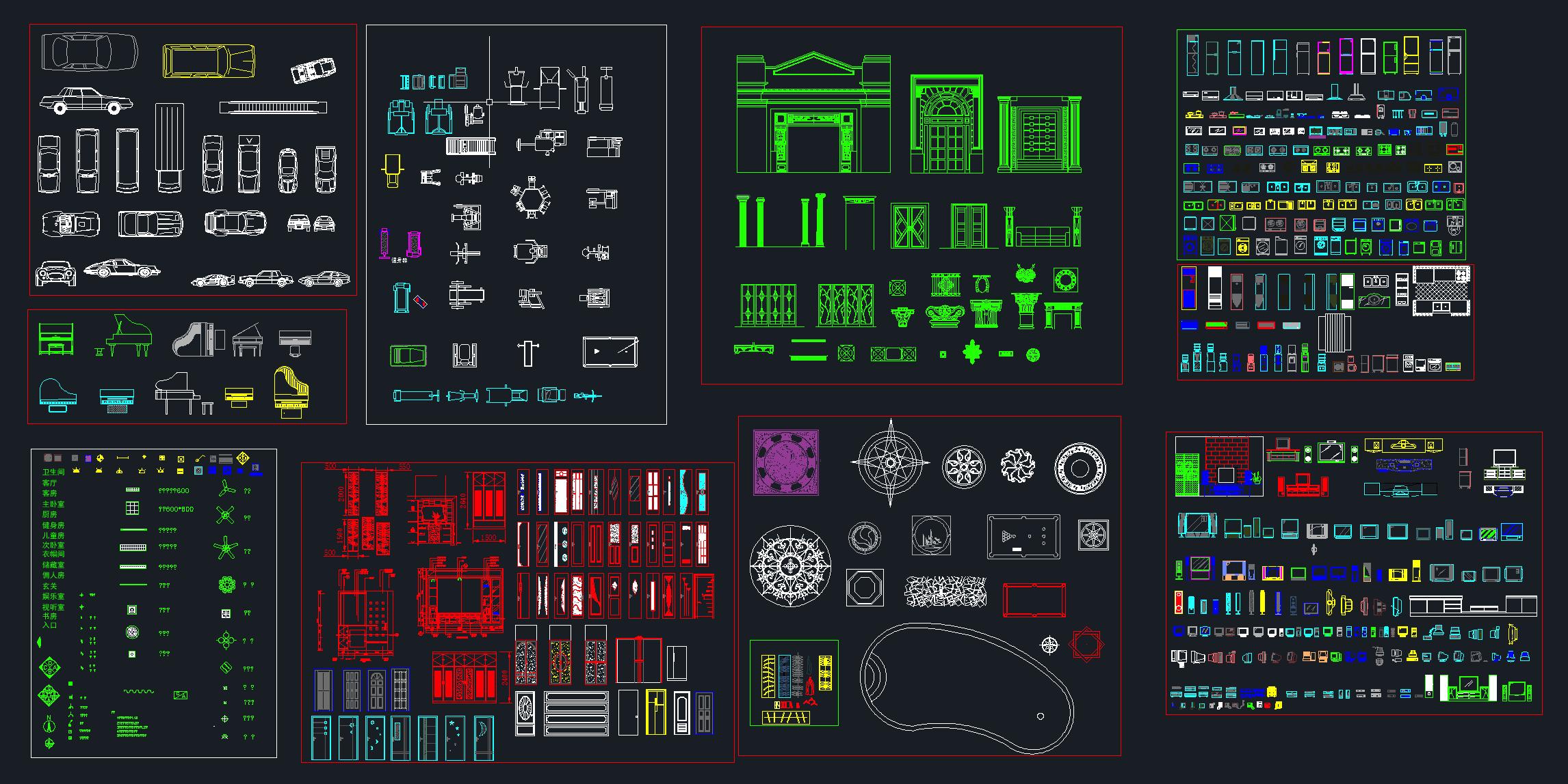 CAD常用家具家电图库施工图下载