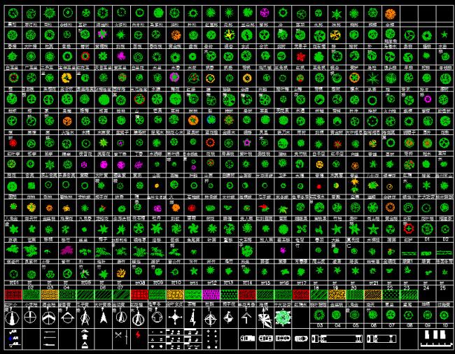 数百种CAD树木图例素材下载