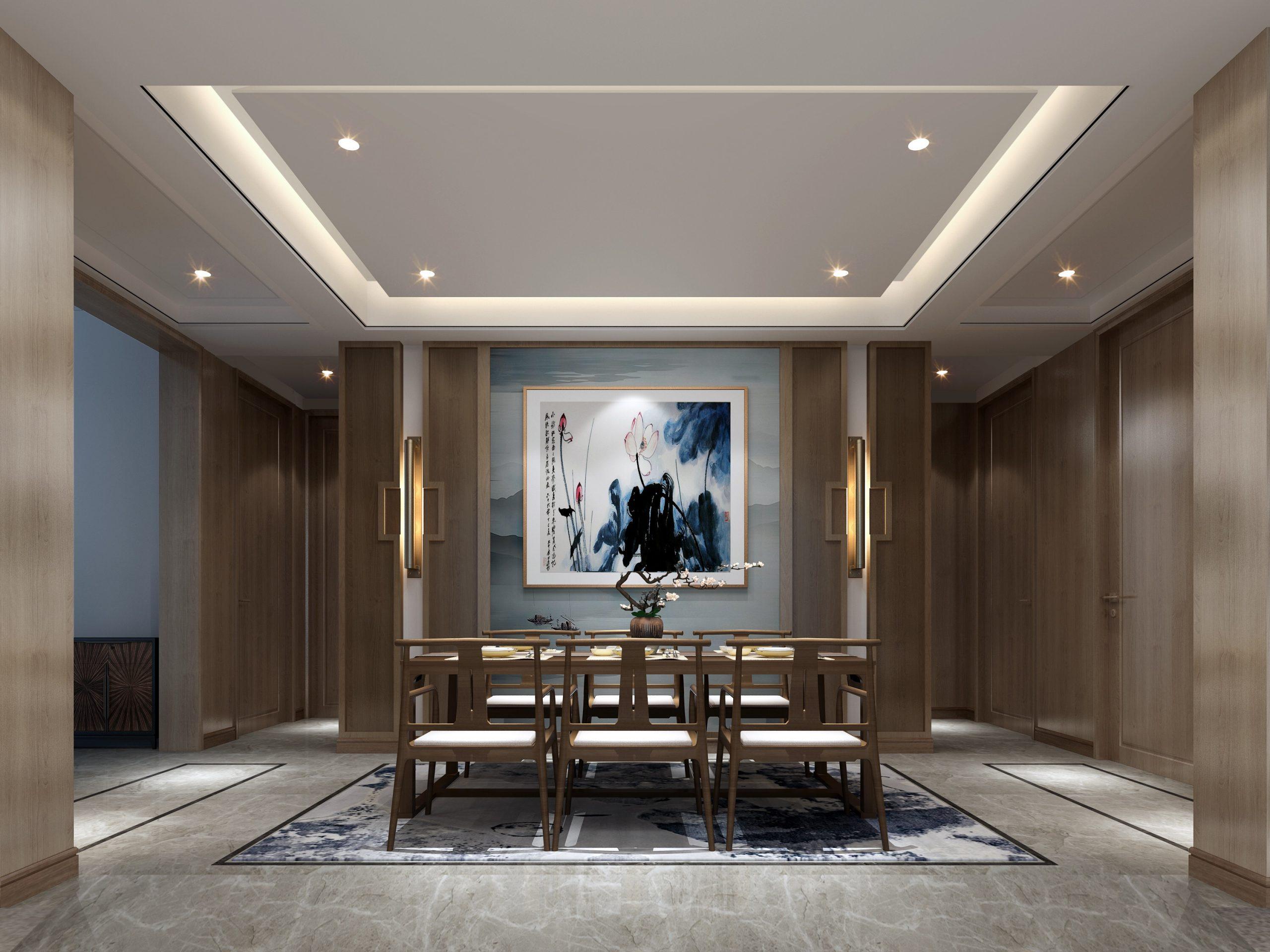 现代中式别墅装修效果图+3D模型+电气图+智能化控制图全套施工图免费下载