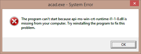 "AutoCAD安装时提示""api-ms-win-crt-runtime-l1-1-0.dll""怎么办?"